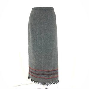 Requirements Maxi Skirt Wool Blend Fringe Boho 12